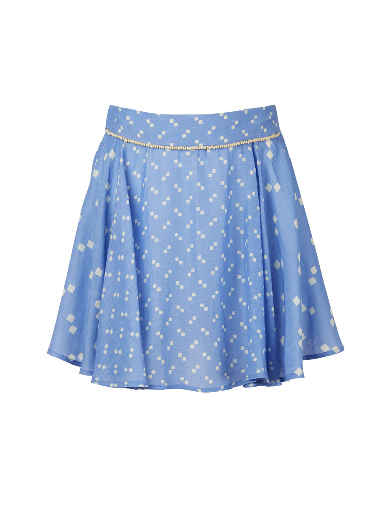 Blue Linen Tiza Skirt