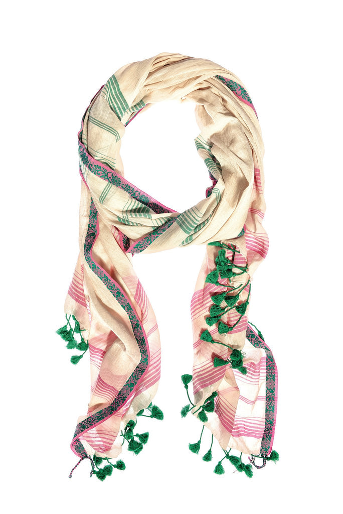 Cream Pink Cotton Champa Green Pom Pom Scarf & Sarong