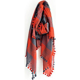 Charcoal and Vermillion Silk Wool Check Scarf