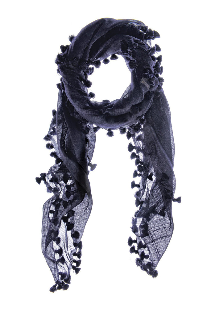 Ink Blue Earth Silk Wool Scarf & Sarong