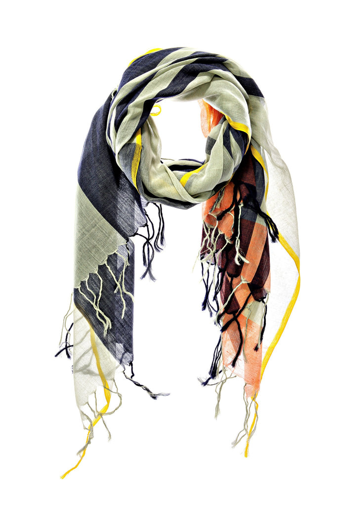 Navy and Grey Cotton Modernist Scarf & Sarong