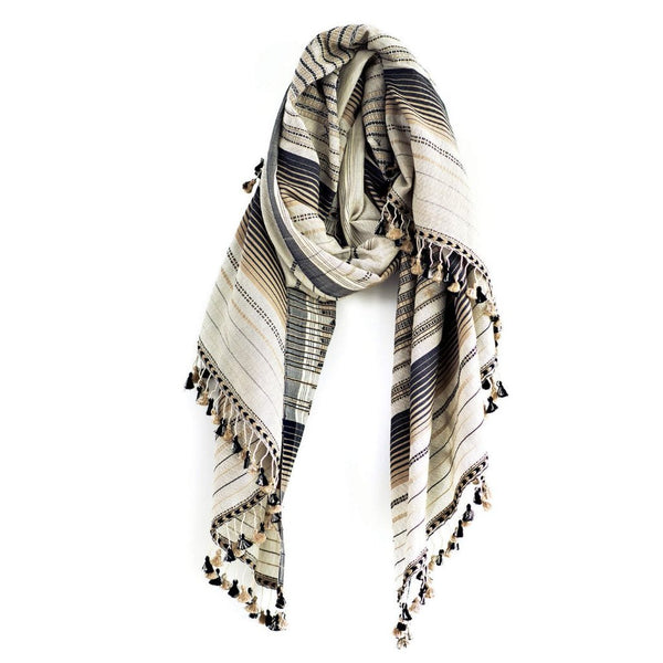 Ivory and Black Cashmere Rama Shawl & Sarong