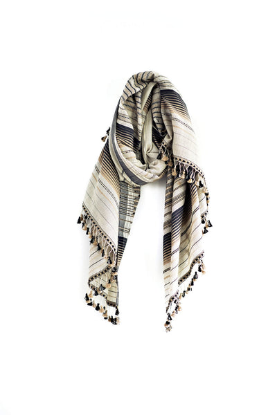 Ivory and Black Cotton Silk Rama Shawl