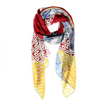 Red Square Apsara Silk Scarf