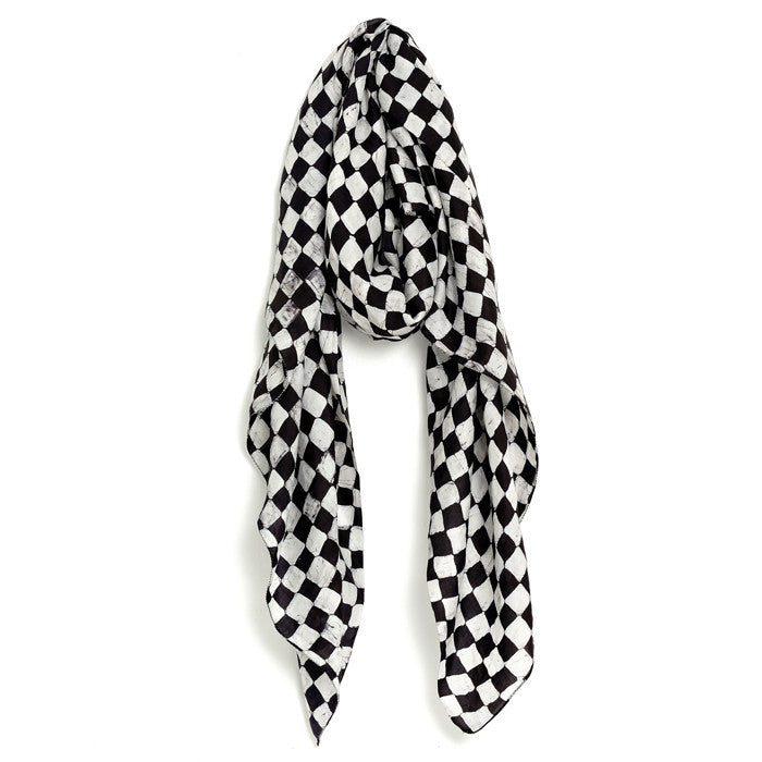 White and Black Chess Silk Scarf & Sarong
