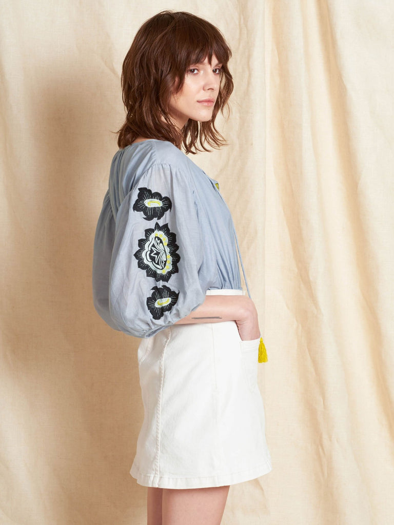Lola Light Blue Silk & Cotton Blouse with Floral Embroidery