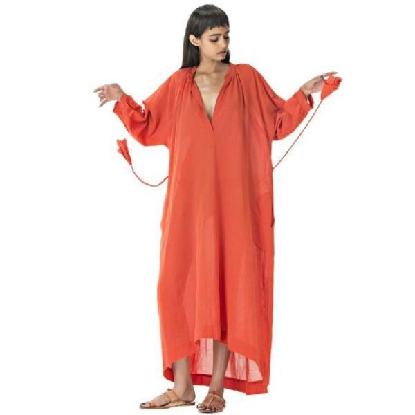 Orange Anara Tutu Cotton Caftan