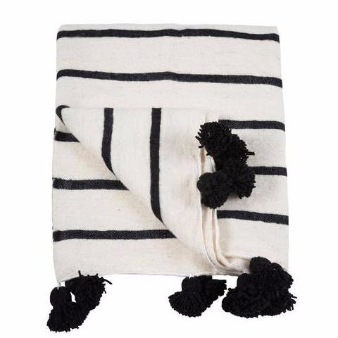 Black & White Antibes Pom Pom Blanket