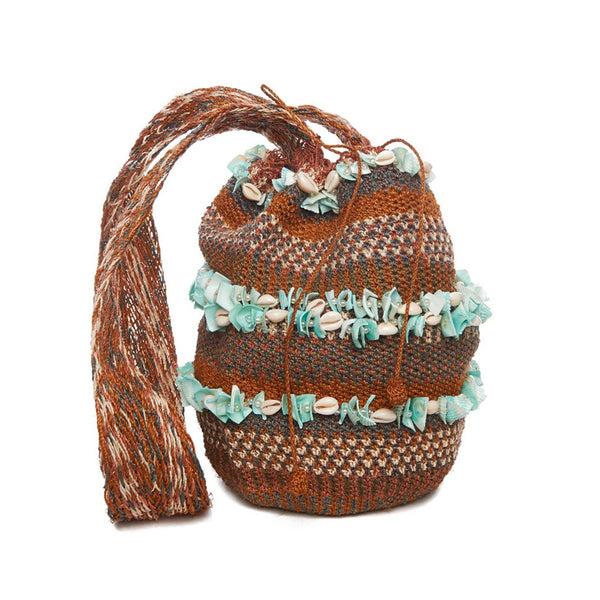 Aqua Shell Raffia Striped Mochila