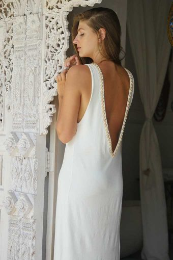 Ivory Backless Bamboo Cotton Dress