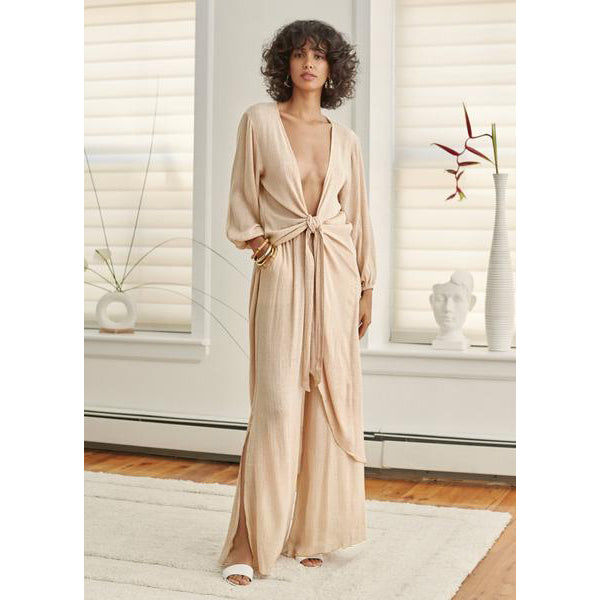Beige Cotton Sola Coverup Robe
