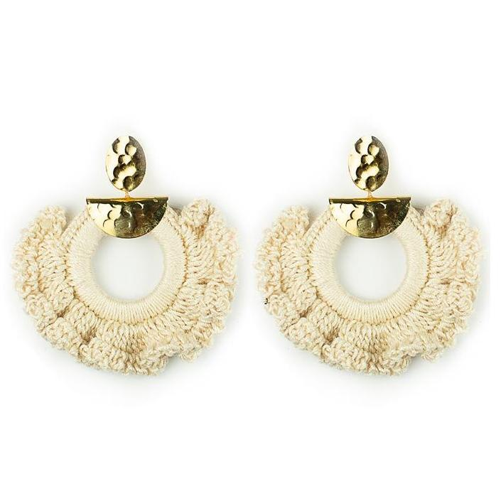 Beige Crochet Ximena Earrings