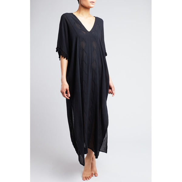 Black 'Paloma' Cotton Caftan