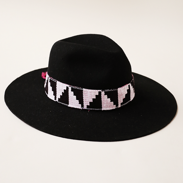 Black Felt Hat with Black and White Kente Band