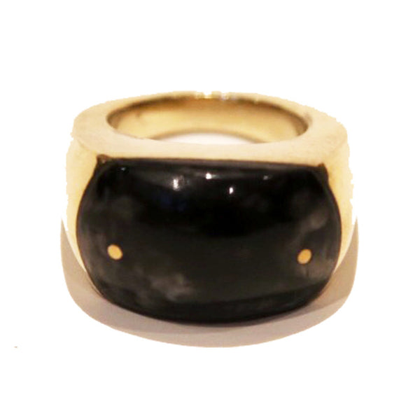 PLUME, Black Large Brass and Bone Ring