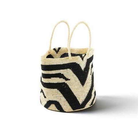 Black & Natural Straw Samoa Tote Bag