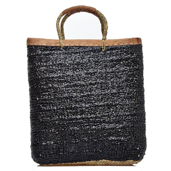 Black Sequined Tall Raffia Tote
