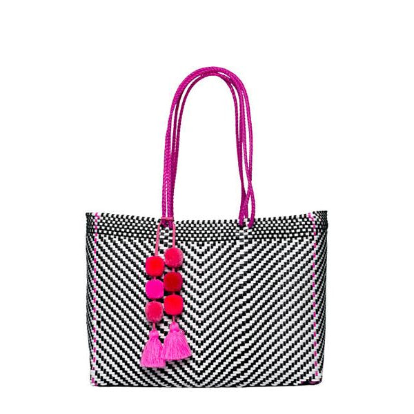 Black & Pink Stella Large Long Handle Tote