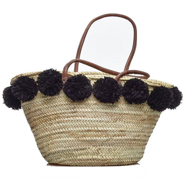 Black Pompom Traditional Raffia Bag