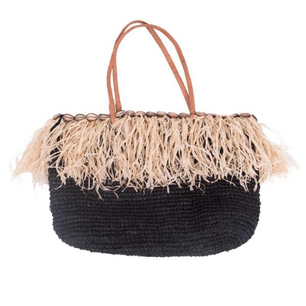 Black Riau Raffia Beach Bag