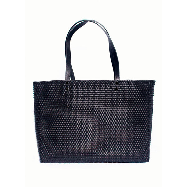Black Stella Large Leather Handle Tote