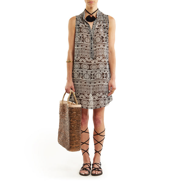 Black Tribal Yoya Sleeveless Dress