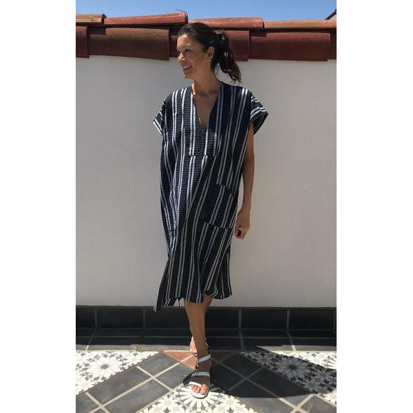 Black & White Cotton Ikat Bib caftan