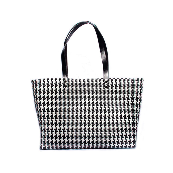 Black & White Gingham Stella Large Leather Handle Tote