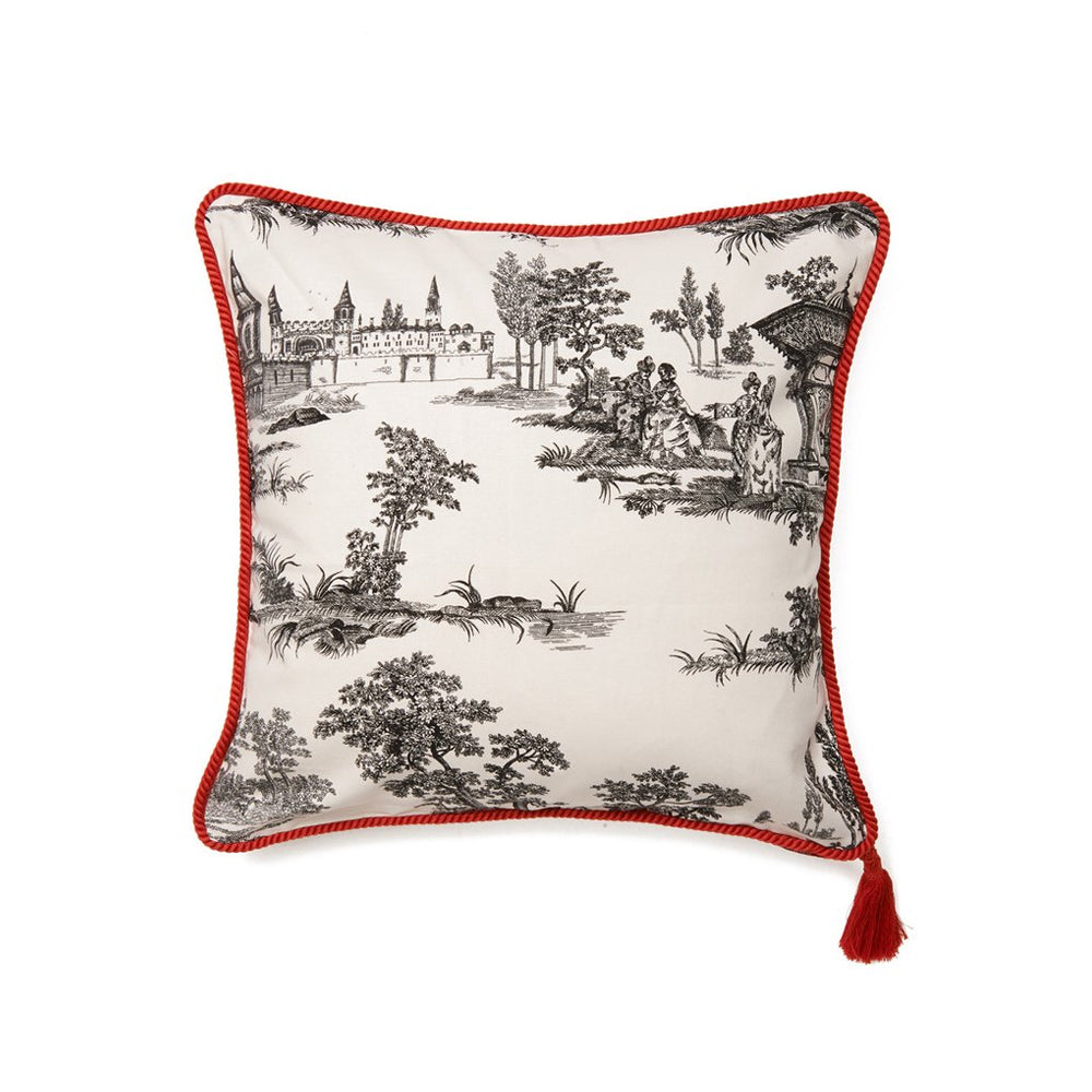 Black White Hasbahce Print Red Trim Cushion Cover