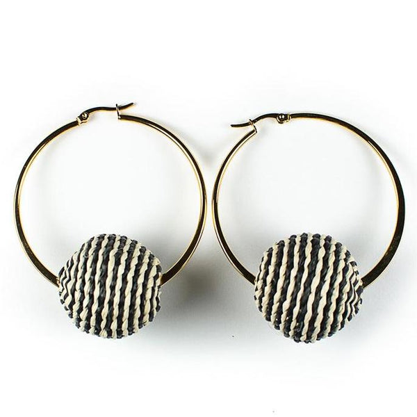 Black & White Palm Cardonga Hoop Earrings