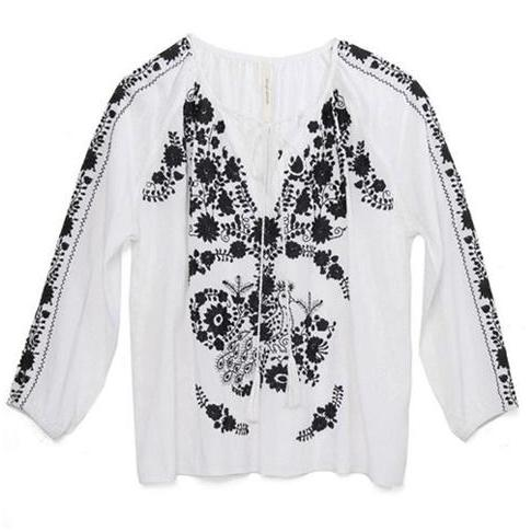 Black & White Rayon Mexican Embroidered Blouse
