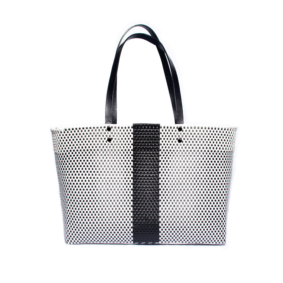 Black & White Stella Large Leather Handle Tote