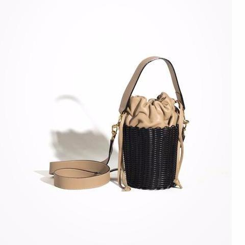 Black Woven Leather Bucket Bag