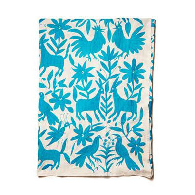 Blue Cotton Otomi Tenago Table Cloth