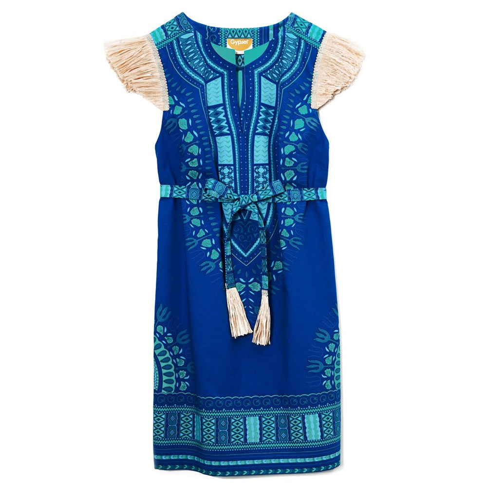 Blue Cotton Turquoise Embroidered Coco Dashiki Weekender Dress