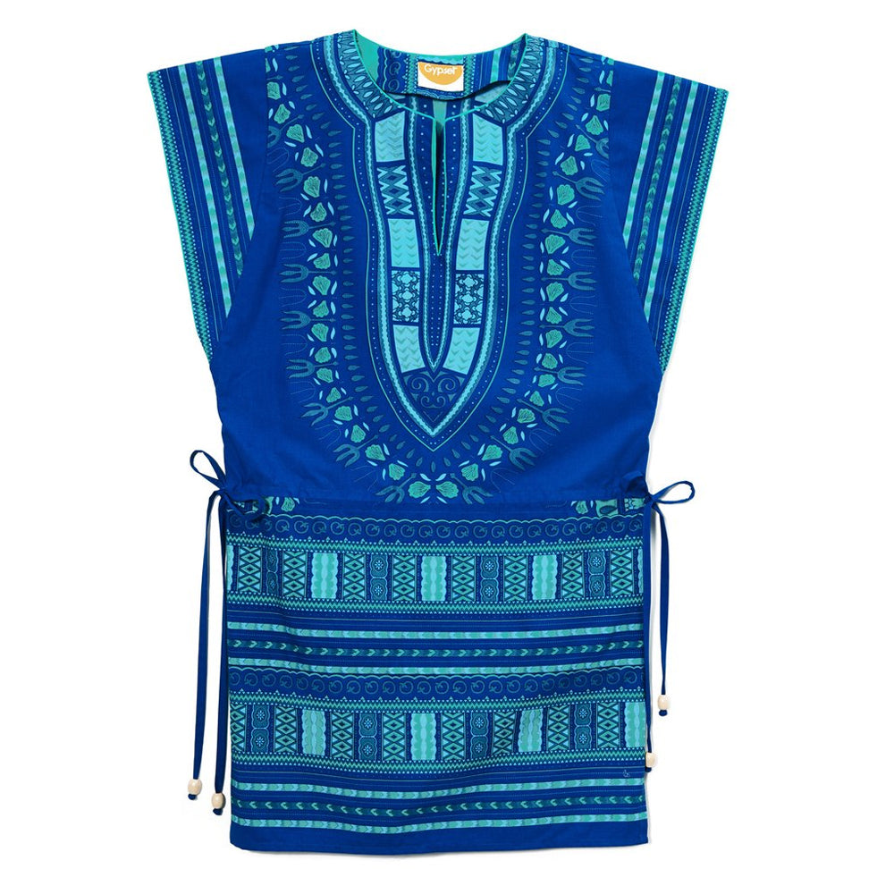 Blue Cotton Turquoise Embroidered Greek Dashiki Drawstring Mini Dress