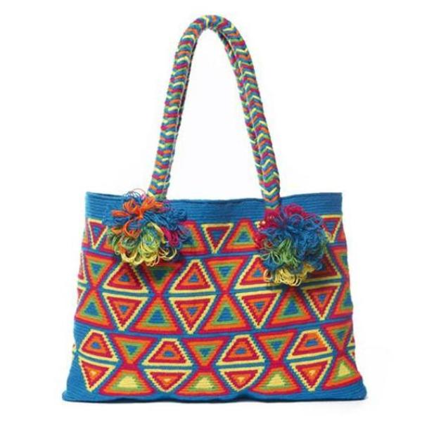 Blue Pom Pom Cotton Tote