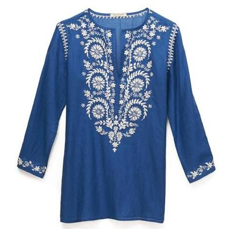 Blue & White Cotton Indian Embroidered Tunic