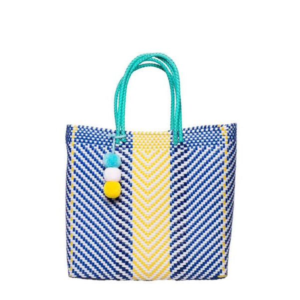 Blue & Yellow Stella Medium Short Handle Tote