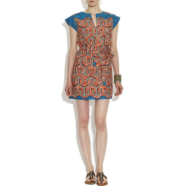 Blue and Orange Cotton Detour Weekender Dress