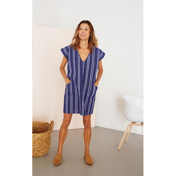 Bright Blue Striped Ikat Cotton Tunic Dress