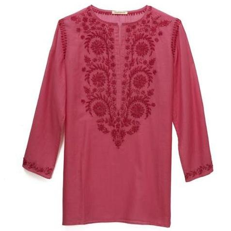 Bright Pink Cotton Indian Embroidered Tunic