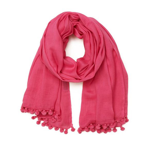 Bright Pink Cotton Pom Pom Scarf & Sarong