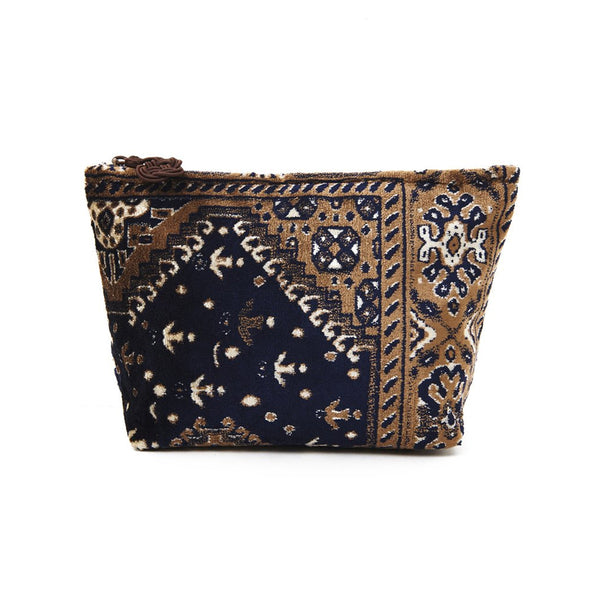 Brown And Navy Plush Velour Large Pouch