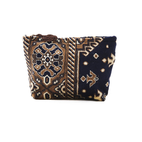 Brown And Navy Plush Velour Small Pouch