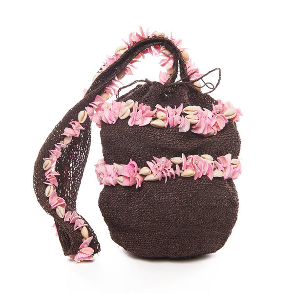 Brown And Pink Raffia Shell Mochila Bag