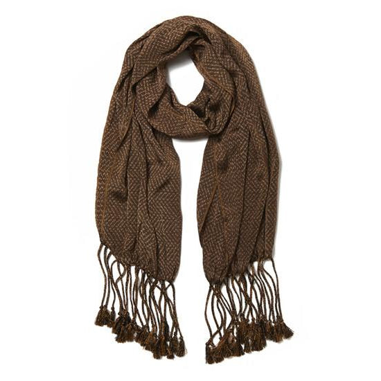 Brown Cotton Rebozo la Piedad Scarf
