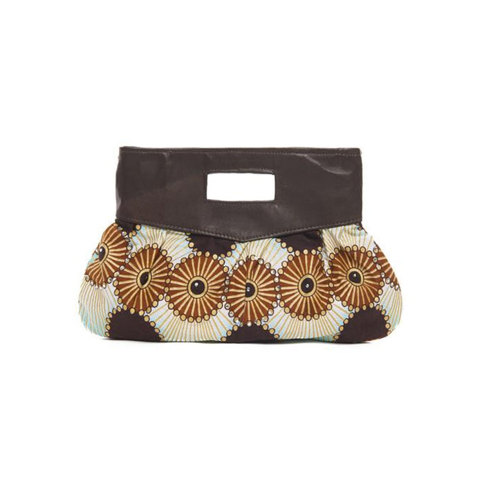 Brown Print Cotton Island Clutch