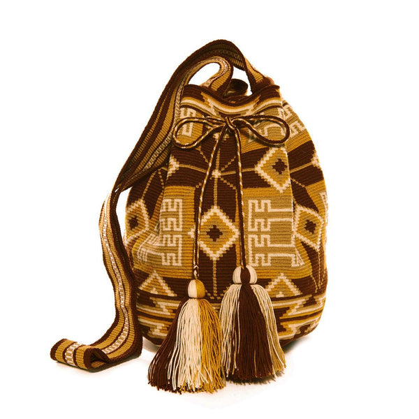 Brown Tan Multi Cotton Cartagena Mochila Tassel Bag