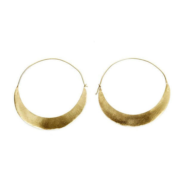 Brushed Gold Crescent Earrings